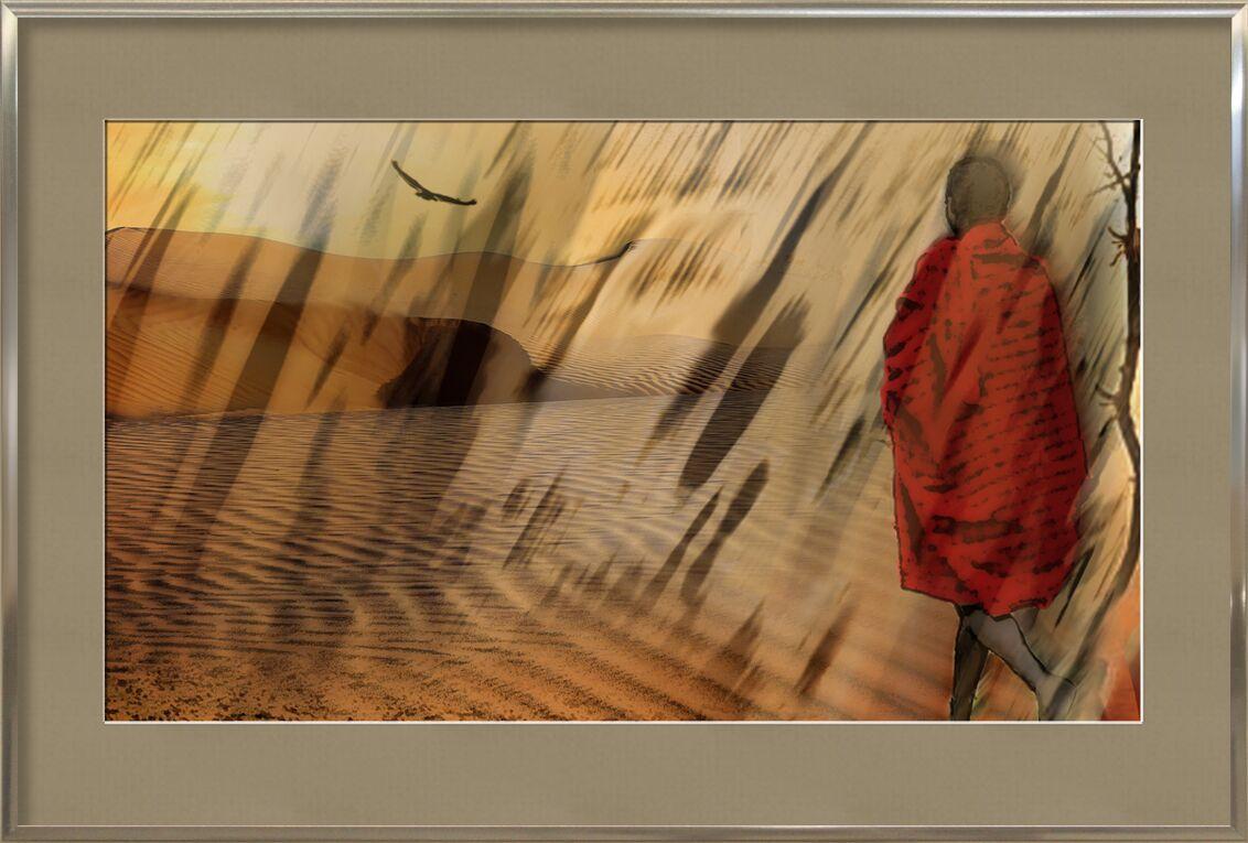 La marche du Maasaï de Adam da Silva, Prodi Art, tempête de sable, vautour, maasaï, massaï, arbre, sable, dune, sécheresse, soleil, marché, désert