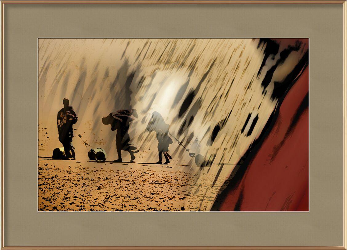 Réalité de Adam da Silva, Prodi Art, Afrique, désert, femme, eau, rouge, jaune, noir, blanc, femme voilée, jarre, sécheresse, famine