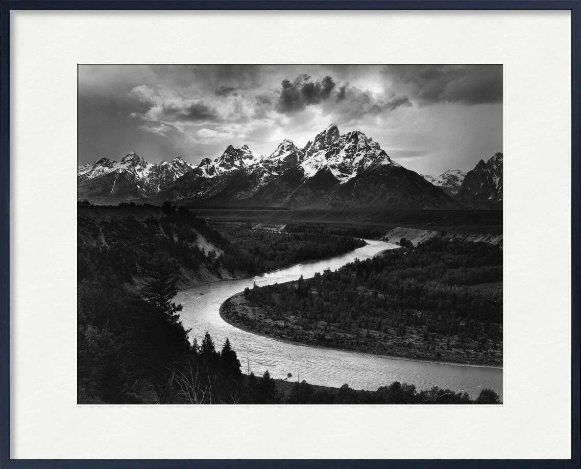 Snake River, Las Cruces, ANSEL ADAMS 1942 from Aux Beaux-Arts, Prodi Art, River, mountains, winter, snow, ANSEL ADAMS, clouds, light, Sun, ray of sunshine