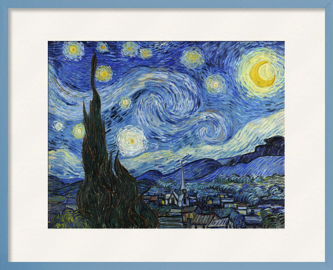 The Starry Night - VINCENT VAN GOGH 1889 from AUX BEAUX-ARTS, Prodi Art, VINCENT VAN GOGH, astrait, painting, village, tree, stars, night, mountains, valley
