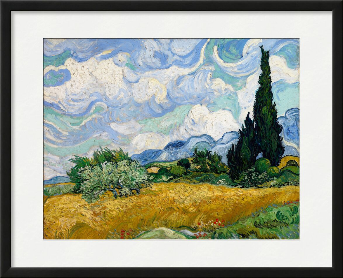 Wheat Field with Cypresses - VINCENT VAN GOGH 1889 from Aux Beaux-Arts, Prodi Art, painting, clouds, tree, meadow, green, nature, wheat fields, cypress, fields, bush