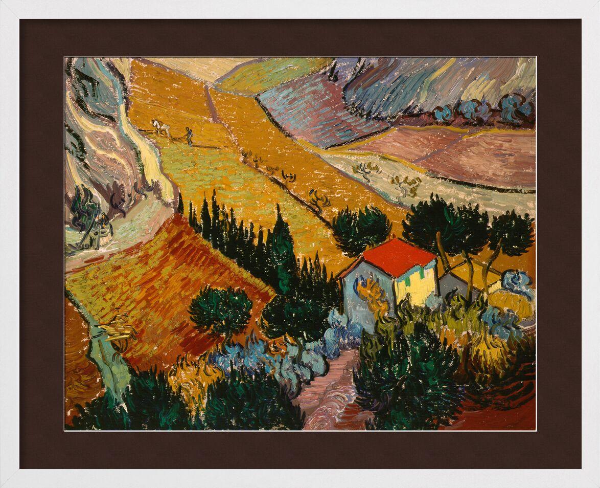 Paysage avec une maison et un laboureur - VINCENT VAN GOG 1889 de Aux Beaux-Arts, Prodi Art, maison, chemin, des arbres, champs de blé, champs, paysage, peinture, VINCENT VAN GOGH