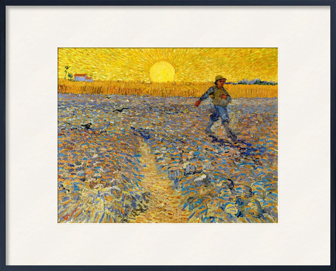 Sower at Sunset - VINCENT VAN GOGH 1888 from Aux Beaux-Arts, Prodi Art, sow, farmer, peasant, , fields, painting, Sun, wheat fields, landscape