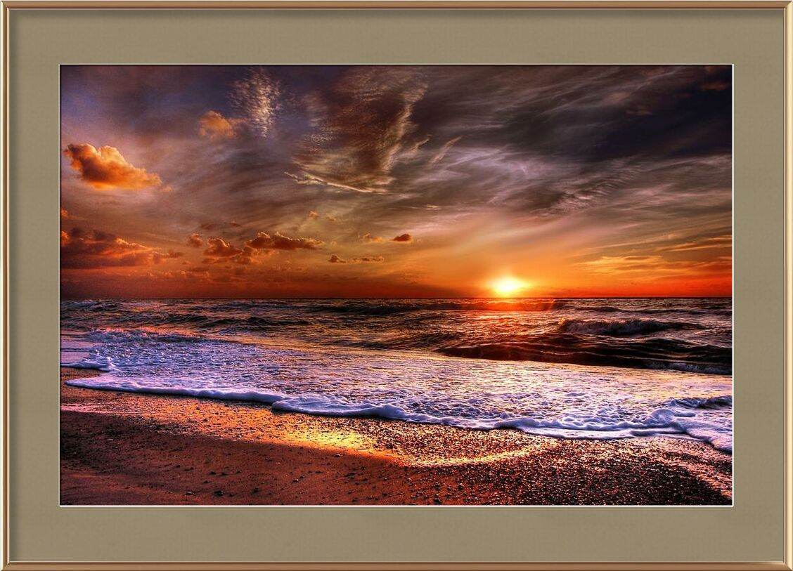 Espace homogène from Aliss ART, Prodi Art, waves, water, sunset, sunlight, ray of sunshine, Sun, sky, seashore, seascape, sea, scenic, sand, outdoors, orange, ocean, nature, landscape, gold, dawn, side, cloudiness, clouds, beach