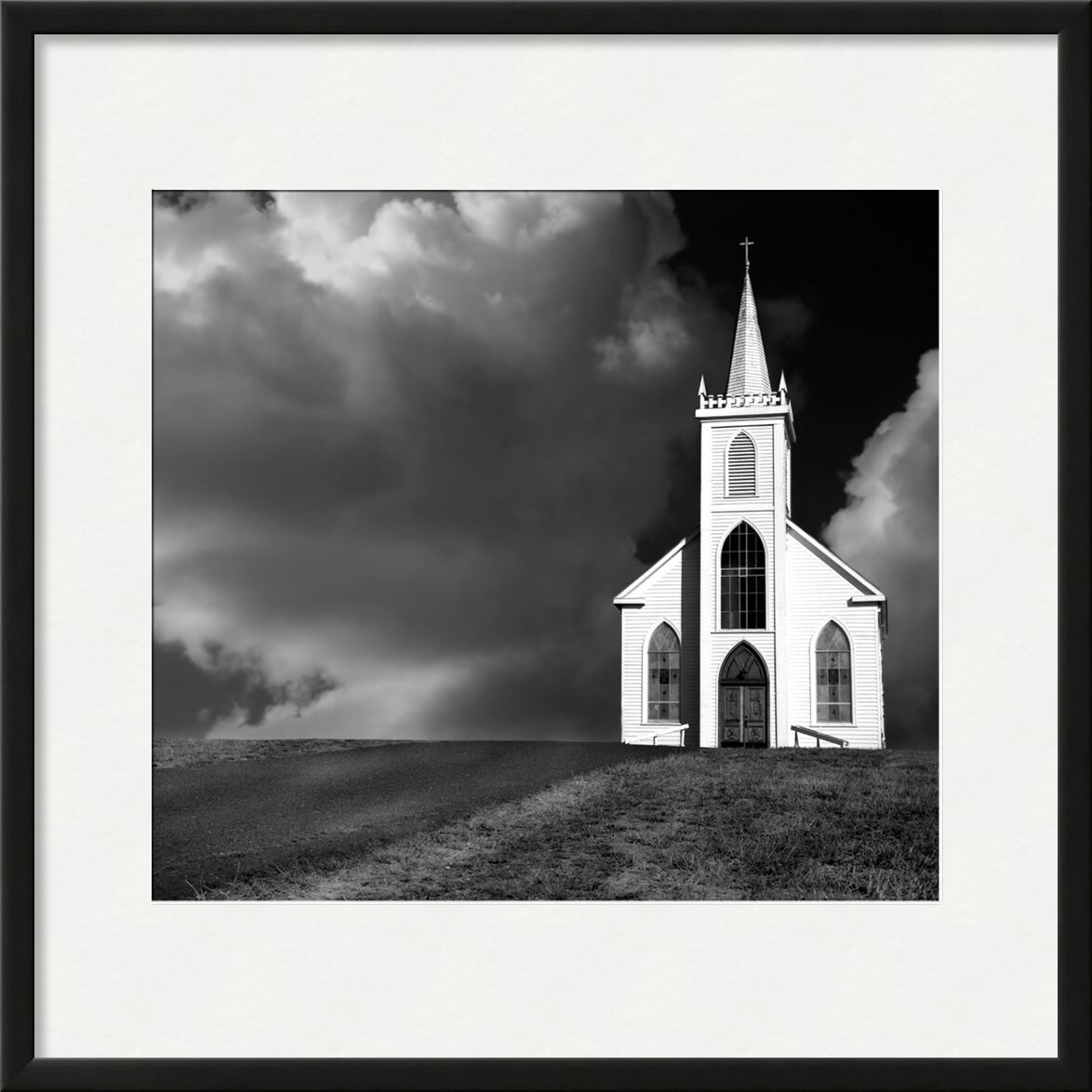 Church picture, ANSEL ADAMS - 1937 from AUX BEAUX-ARTS, Prodi Art, road, loneliness, ANSEL ADAMS, church, clouds, storm, meadow, thunderstorm