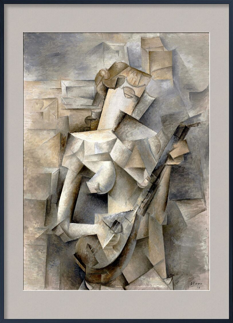 Girl with a Mandolin - Pablo Picasso 1910 von AUX BEAUX-ARTS, Prodi Art, junges Mädchen, Gitarre, Musik, Violine, Mandoline, Frau, Mädchen, blonde, PABLO PICASSO