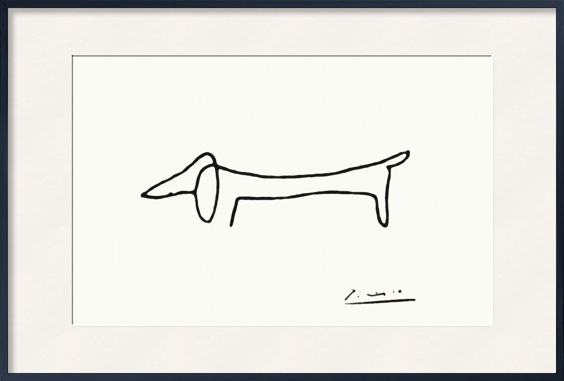The dog - PABLO PICASSO from Aux Beaux-Arts, Prodi Art, a line, dog, PABLO PICASSO, black-and-white, line, pencil drawing, drawing