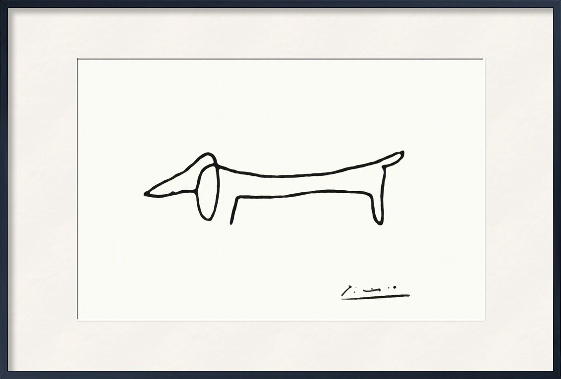 The dog - PABLO PICASSO from AUX BEAUX-ARTS, Prodi Art, drawing, pencil drawing, line, black-and-white, PABLO PICASSO, dog, a line
