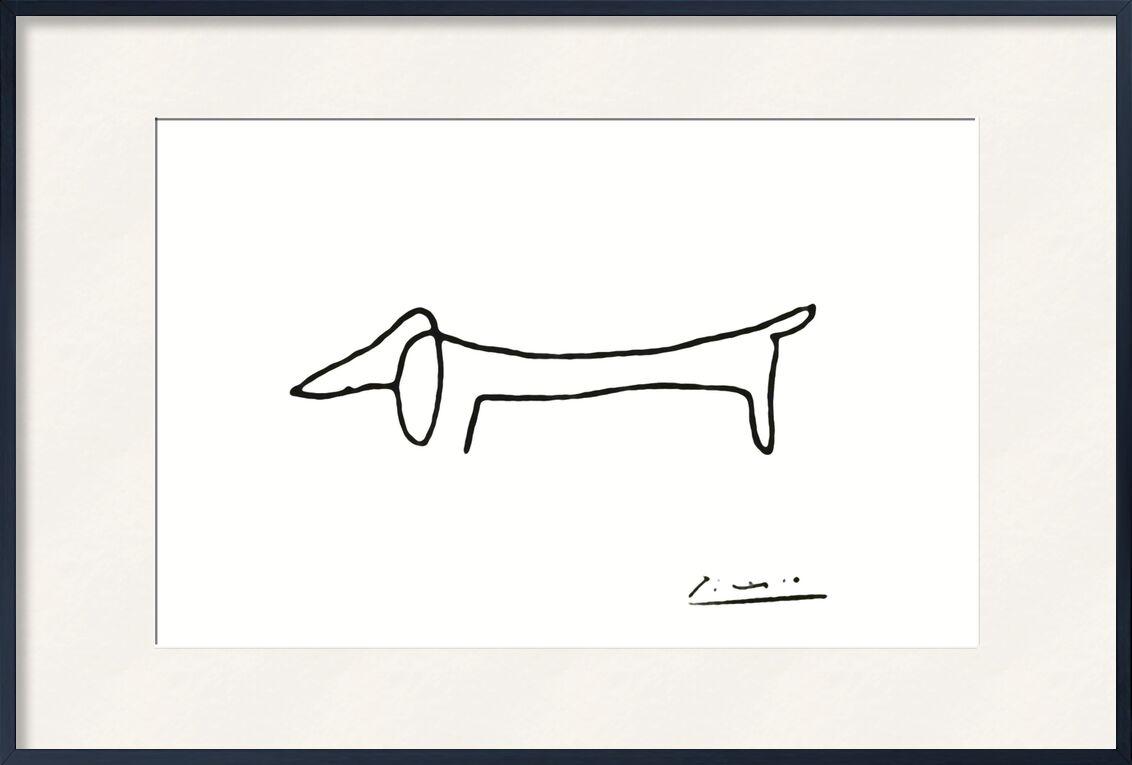 The dog - PABLO PICASSO von AUX BEAUX-ARTS, Prodi Art, eine Linie, Hund, PABLO PICASSO, Schwarz und weiß, Linie, Bleistiftzeichnung, Zeichnung