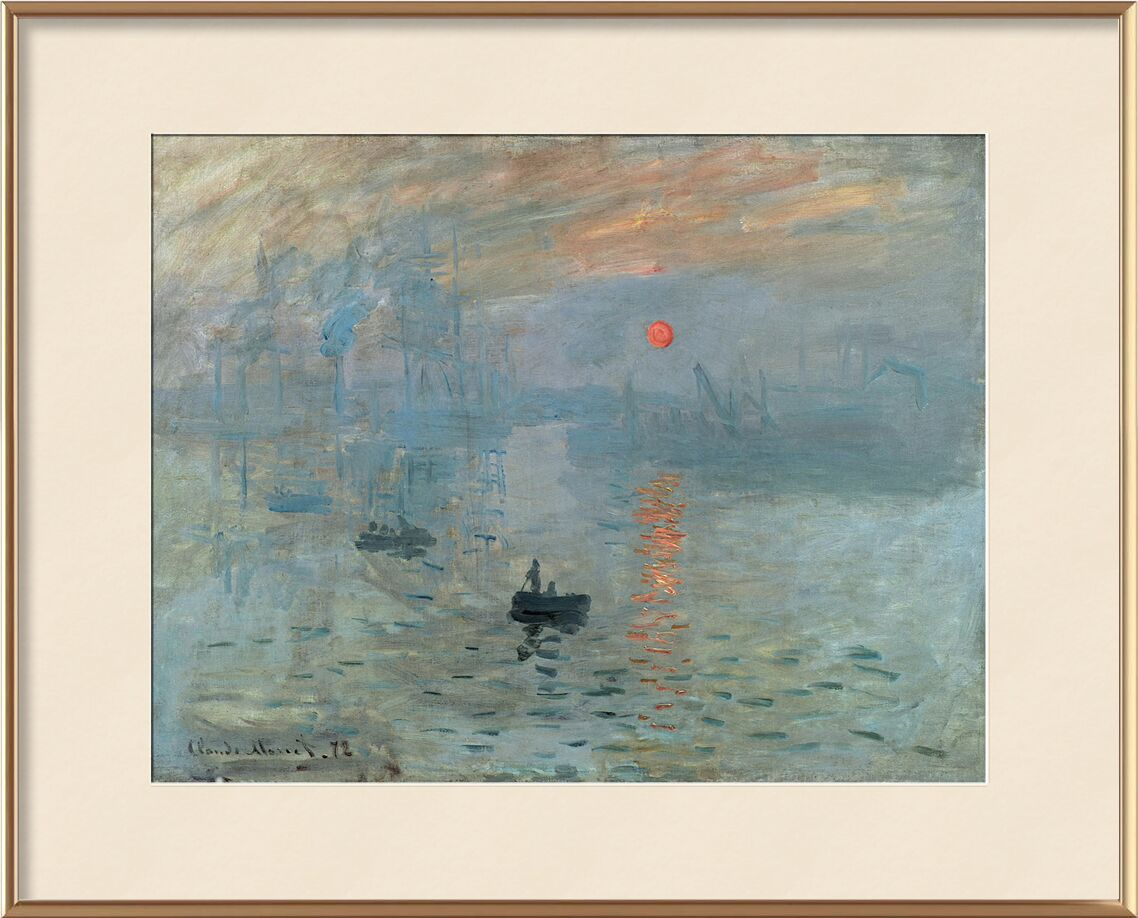 Impression, Sunrise 1872 - CLAUDE MONET from Aux Beaux-Arts, Prodi Art, job, CLAUDE MONET, factory, ship, small boat, Sun, boat, ocean, sea