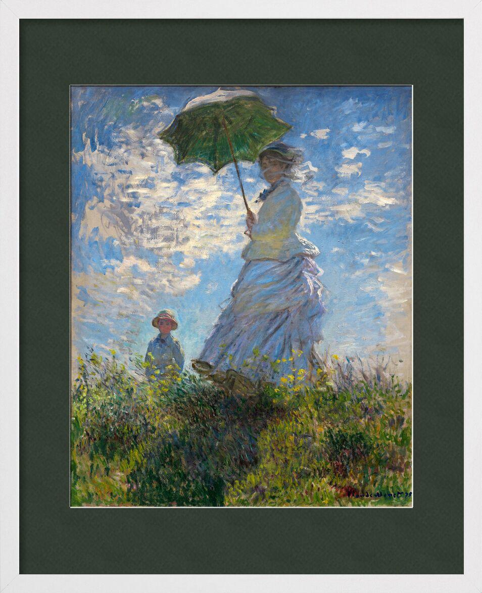 La Promenade - CLAUDE MONET 1875 de Aux Beaux-Arts, Prodi Art, femme, enfant, peinture, nuages, bleu, prairie, CLAUDE MONET, ombrelle, parasol