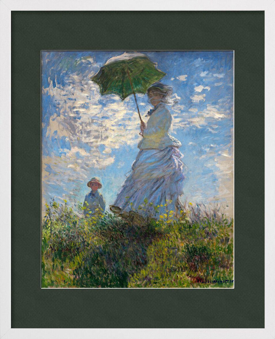 The Stroll - CLAUDE MONET 1875 from AUX BEAUX-ARTS, Prodi Art, parasol, umbrella, CLAUDE MONET, meadow, blue, clouds, painting, child, woman