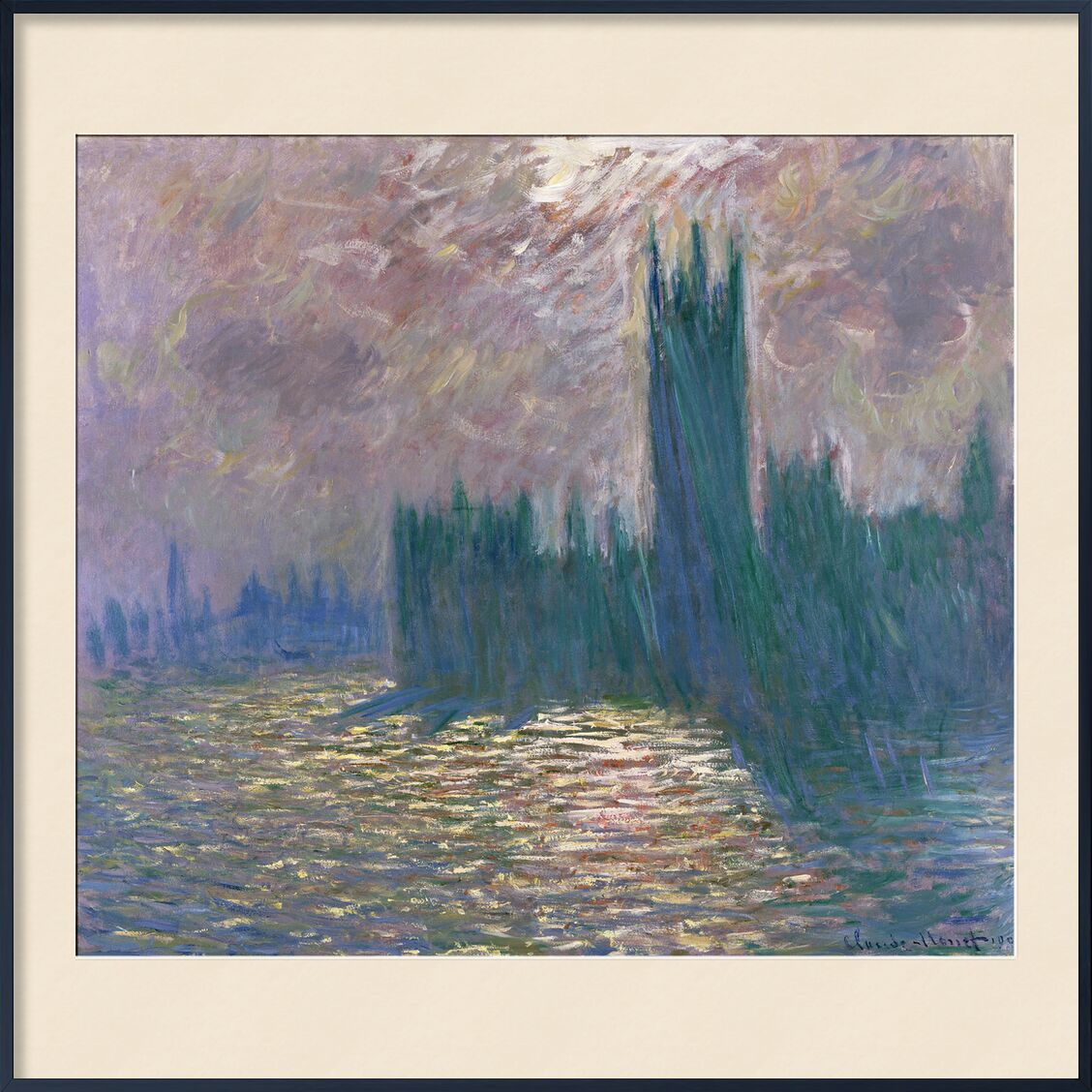 Houses of Parliament, London - CLAUDE MONET 1905 from Aux Beaux-Arts, Prodi Art, River, london, Thames, capital, parliament, parliament of London, CLAUDE MONE