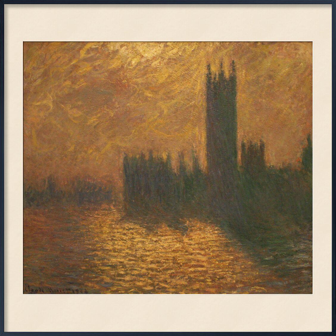 Les Chambres du Parlement, ciel orageux - CLAUDE MONET 1905 de AUX BEAUX-ARTS, Prodi Art, Londres, ciel, tamise, fleuve, capital, soleil, CLAUDE MONET, ciel orageux