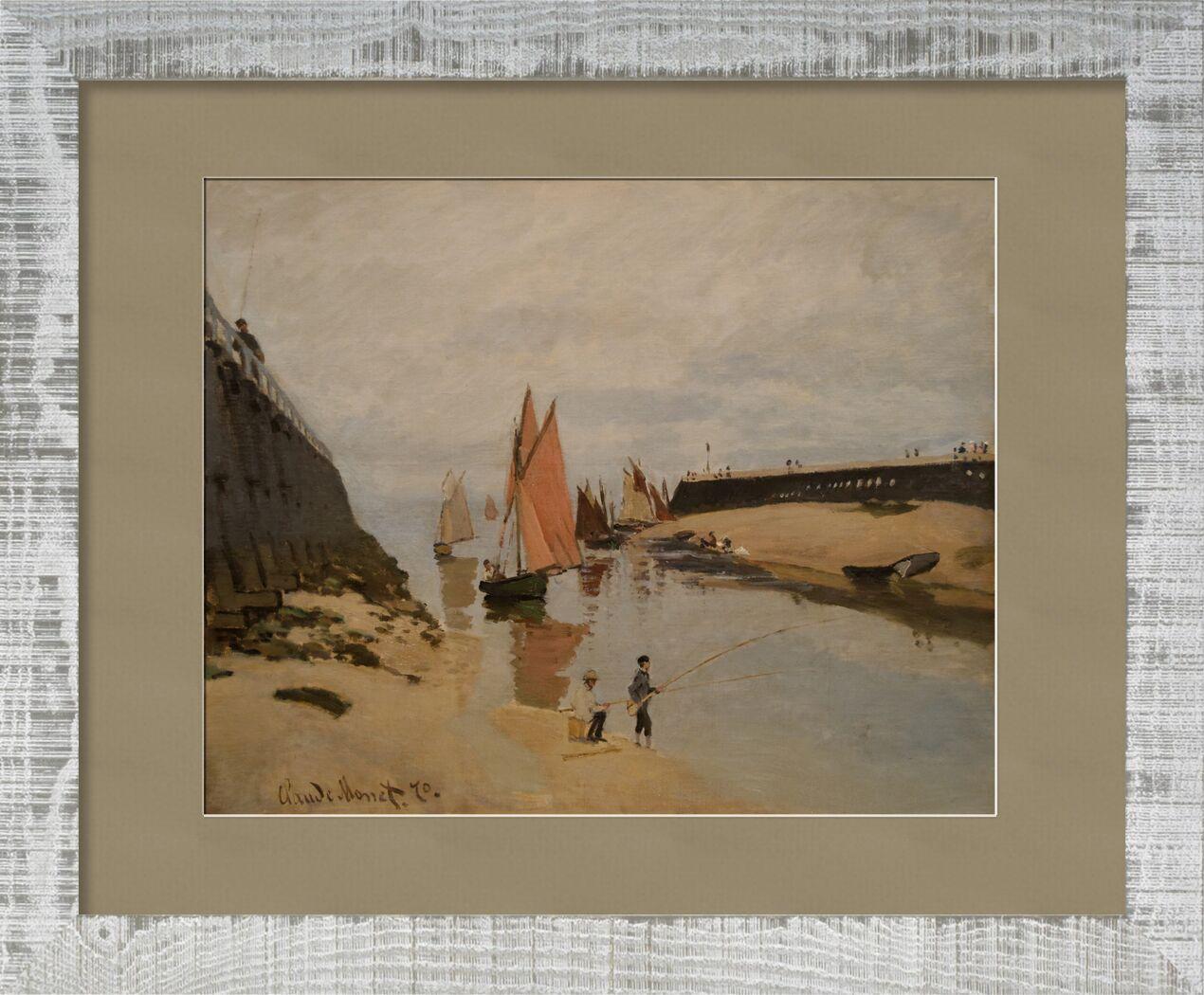 Le port de Trouville - CLAUDE MONET 1870 de AUX BEAUX-ARTS, Prodi Art, entrée de port, bateaux à voile, bateaux, pêche, Trouville, CLAUDE MONET, peinture, nuages, enfants, rivière, fleuve, Port