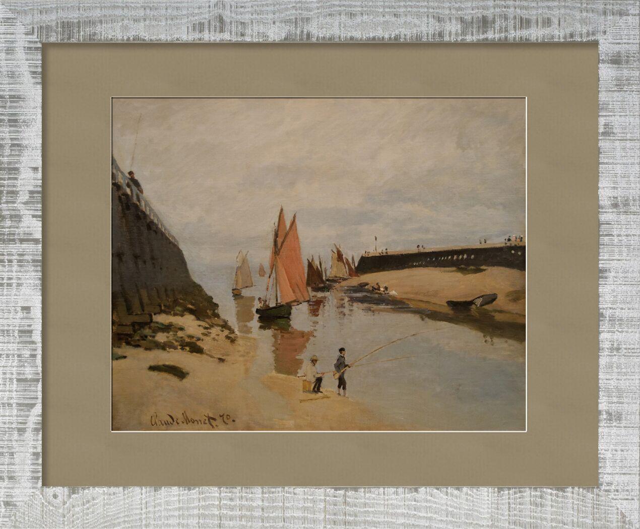 The harbour at Trouville - CLAUDE MONET 1870 von AUX BEAUX-ARTS, Prodi Art, Hafen, Fluss, Fluss, Kinder, Wolken, Malerei, CLAUDE MONET, Trouville, Angeln, Boote, Segelboote, Hafeneingang