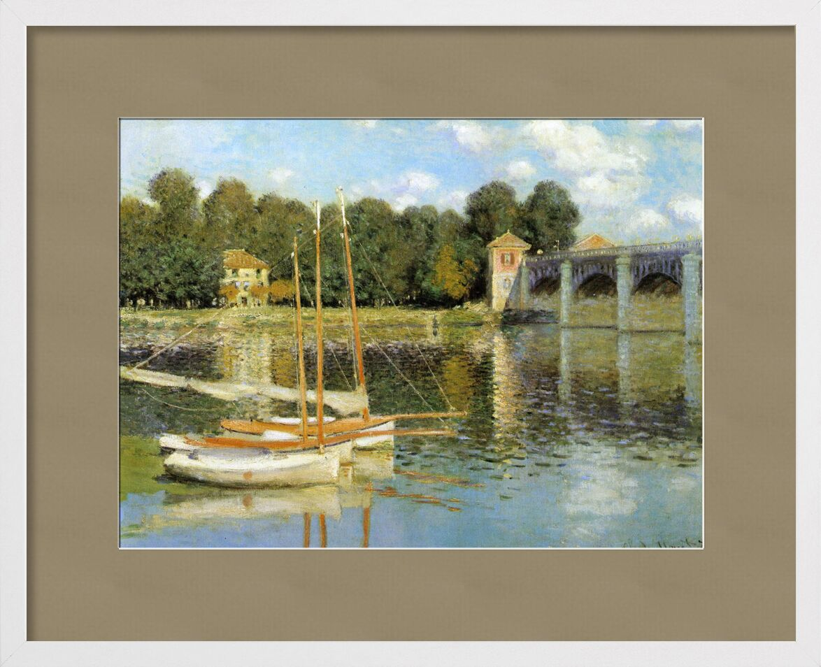 Le pont d'Argenteuil - CLAUDE MONET 1874 de AUX BEAUX-ARTS, Prodi Art, fleuve, peinture, rivière, ciel, nuages, bateaux, moulin, CLAUDE MONET, Argenteuil, pont, bateau à voile