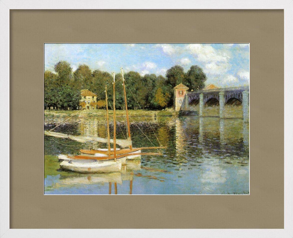 The Argenteuil Bridge - CLAUDE MONET 1874 from AUX BEAUX-ARTS, Prodi Art, sailboat, pont, Argenteuil, CLAUDE MONET, mill, boats, clouds, sky, river, painting, River