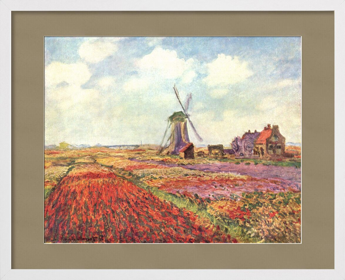 Tulip fields in Holland - CLAUDE MONET 1886 from AUX BEAUX-ARTS, Prodi Art, tulip, tulip fields, CLAUDE MONET, clouds, sky, agriculture, nature, mill, fields