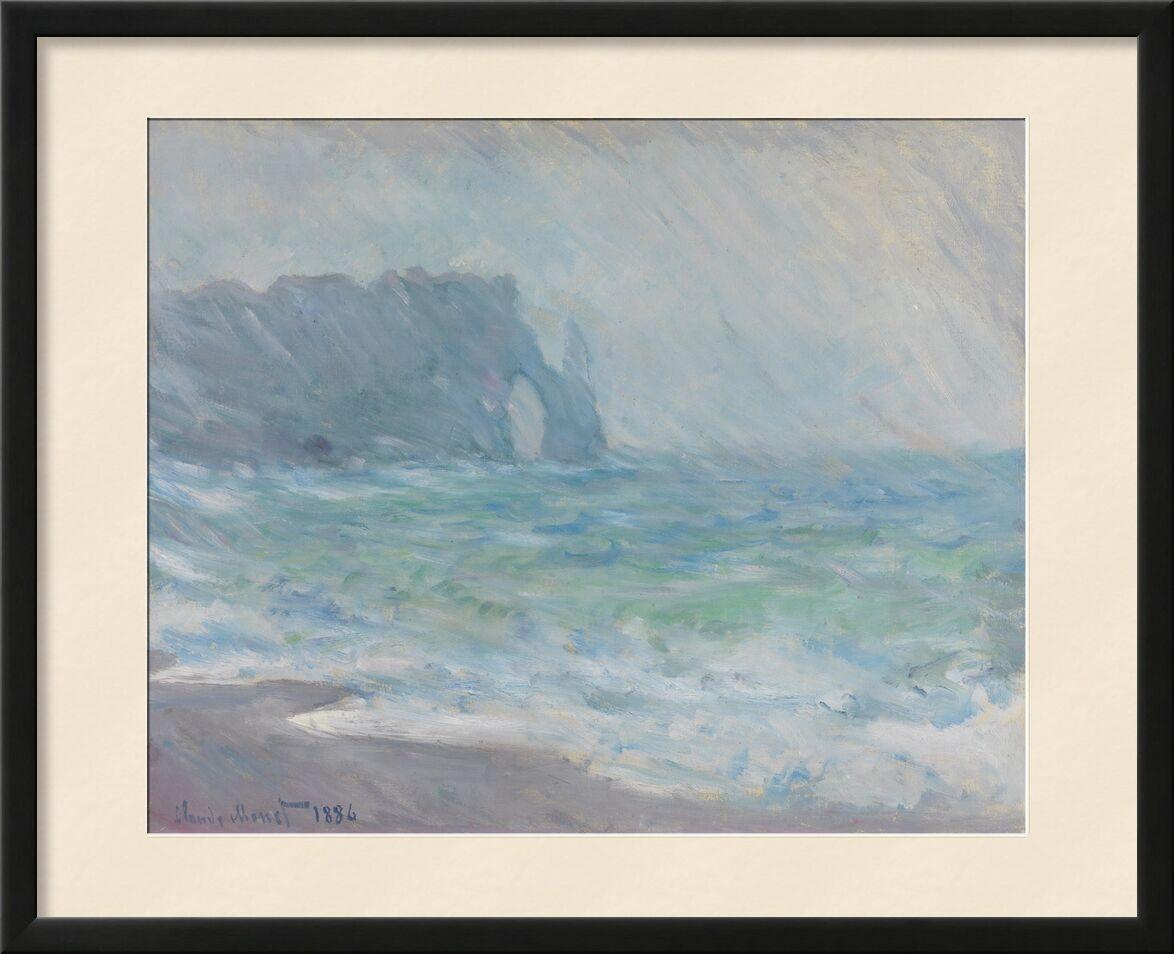 Étretat sous la pluie - CLAUDE MONET 1886 de AUX BEAUX-ARTS, Prodi Art, pluie, falaise, plage, mer, vague, océan, mer agitée, CLAUDE MONET, galais