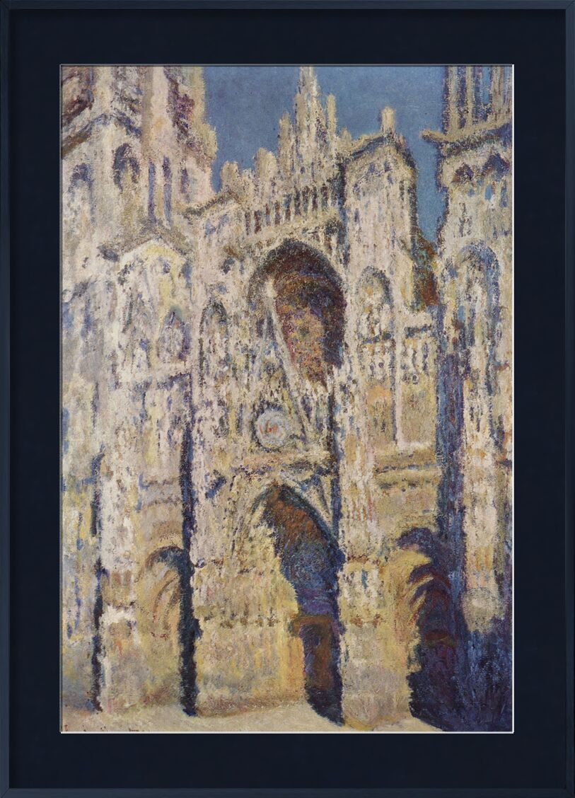 Rouen Cathedral, West Facade, Sunlight - CLAUDE MONET 1894 from Aux Beaux-Arts, Prodi Art, France, cathedral, church, city, painting, Sunday, spirituality, CLAUDE MONET, Rouen, downtown, fair, place of prayer