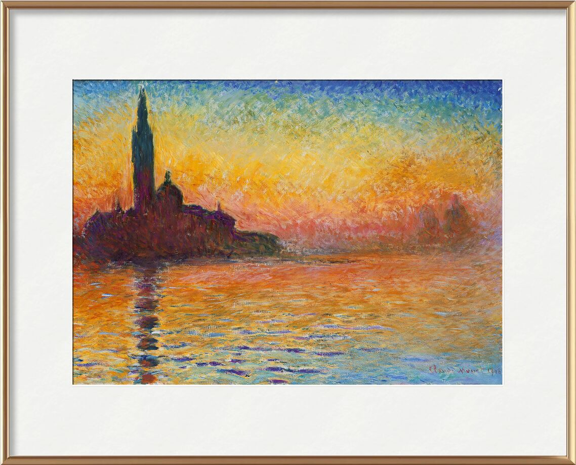 San Giorgio Maggiore at Dusk - CLAUDE MONET from AUX BEAUX-ARTS, Prodi Art, CLAUDE MONET, cathedral, beach, sea, holiday, sunset, dusk, Sun, River, church