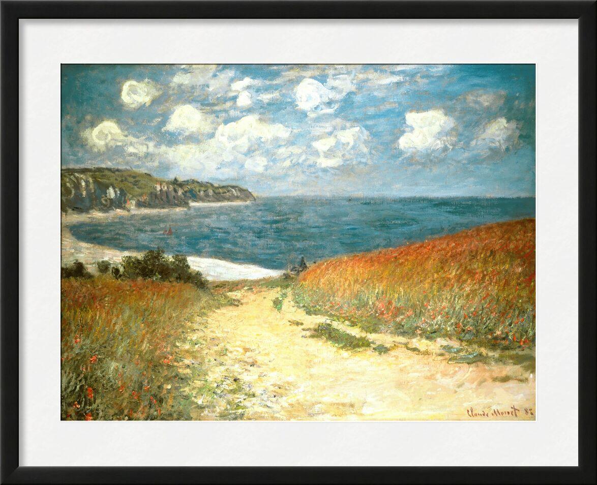 PATH THROUGH THE CORN AT POURVILLE - CLAUDE MONET - 1882 from Aux Beaux-Arts, Prodi Art, path, beach, sea, ocean, clouds, cliff, holiday, wheat, poppy, painting, CLAUDE MONET