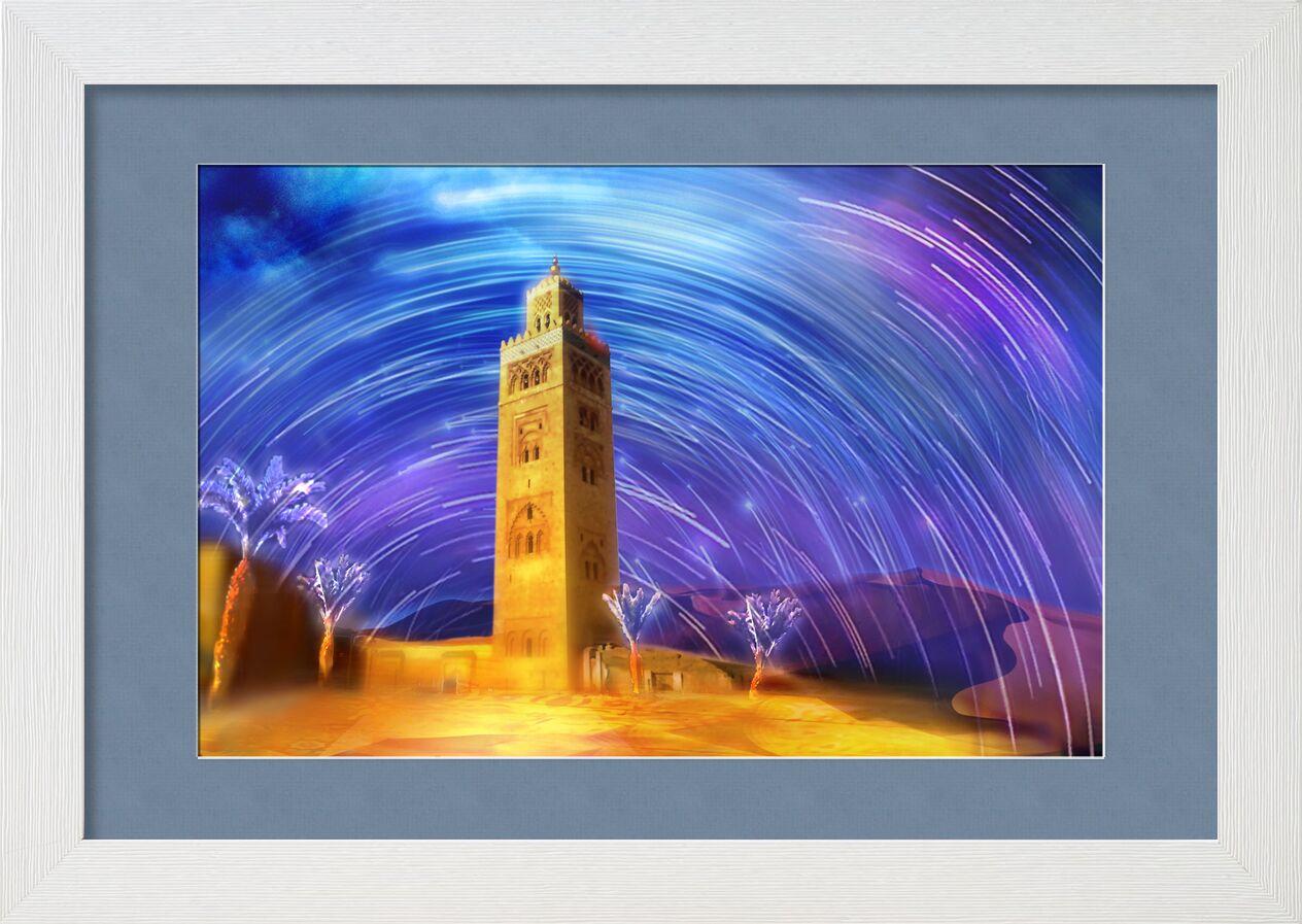 Marrakech de Adam da Silva, Prodi Art, magique, palmier, mosquée, étoiles filantes, sable, dune, ciel, étoiles, désert, maroc, couleurs
