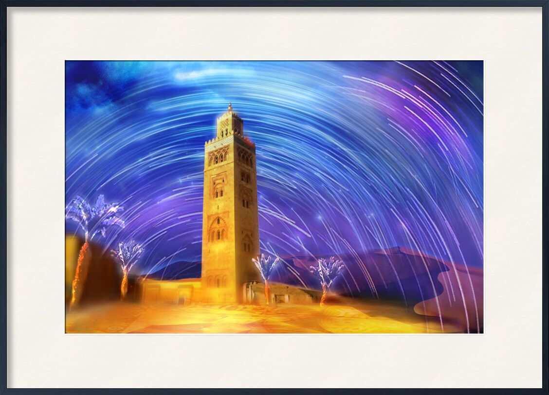 Marrakesh from Adam da Silva, Prodi Art, colors, Morocco, desert, stars, sky, dune, sand, shooting Stars, mosque, palm, Magic