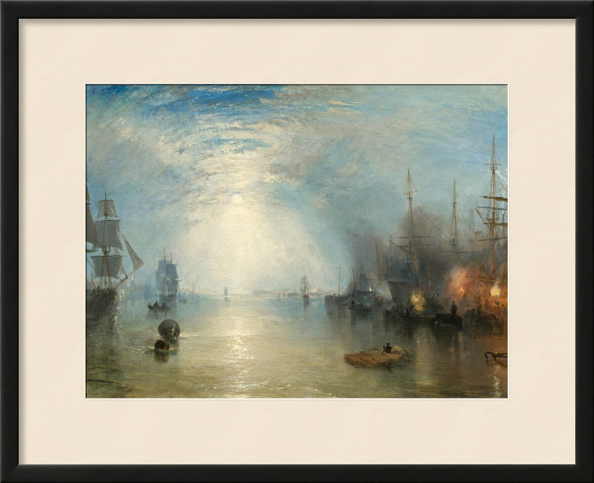 Keelmen Heaving in Coals by Moonlight - WILLIAM TURNER 1835 from Aux Beaux-Arts, Prodi Art, painting, port, boats, fire, sea, ocean, sky, Sun, WILLIAM TURNER, port of boats, sailing ship, warship