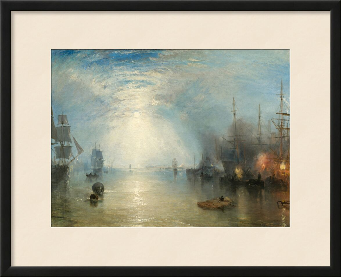 Keelmen Heaving in Coals by Moonlight - WILLIAM TURNER 1835 from AUX BEAUX-ARTS, Prodi Art, warship, sailing ship, port of boats, WILLIAM TURNER, Sun, sky, ocean, sea, fire, boats, port, painting