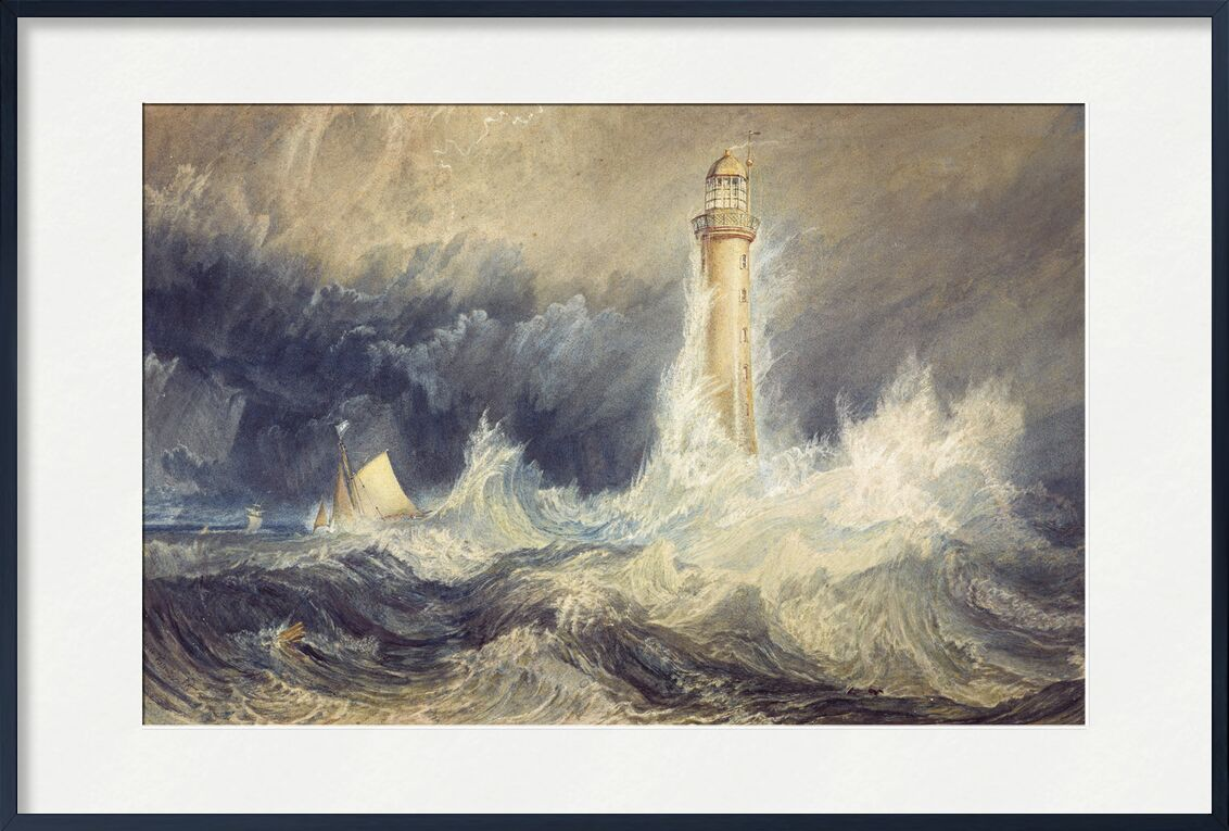 Bell Rock Lighthouse - WILLIAM TURNER 1824 von AUX BEAUX-ARTS, Prodi Art, Meer, raues Meer, Ozean, Sturm, Sturm, Wind, Wellen, Boot, yacht, Malerei, WILLIAM TURNER, Leuchtturm, Leuchtturm Licht, heftiger Wind