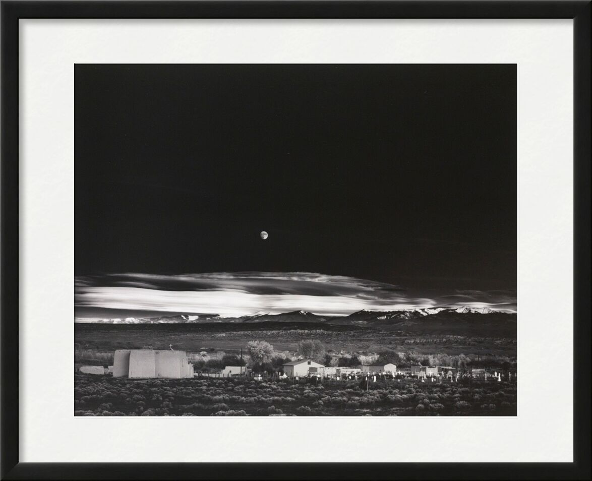 Moonrise over Hernandez New Mexico - Ansel Adams 1941 from Aux Beaux-Arts, Prodi Art, New Mexico, ANSEL ADAMS, countryside, farm, star, stars, House, USA, Moon, black White, black-and-white, sky
