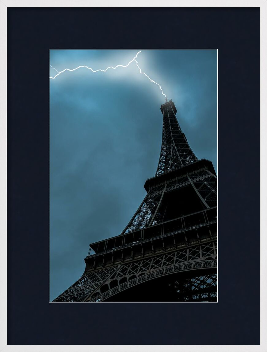 Love at first sight in Paris from Aliss ART, Prodi Art, lightning strike, Urban, travel, tower, Skyscraper, sky, Paris, outdoors, lightning, landmark, high, Eiffel Tower, Dark Sky, city, architecture