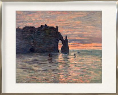 Sunset in Etretat - CLAUDE MONET 1883 from Aux Beaux-Arts, Prodi Art, Art photography, Framed artwork, Prodi Art