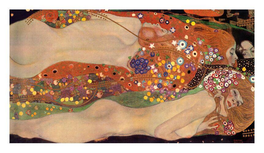 Serpents d'eau II - Gustav Klimt de AUX BEAUX-ARTS, Prodi Art, KLIMT, peinture, femme, serpent, abstrait