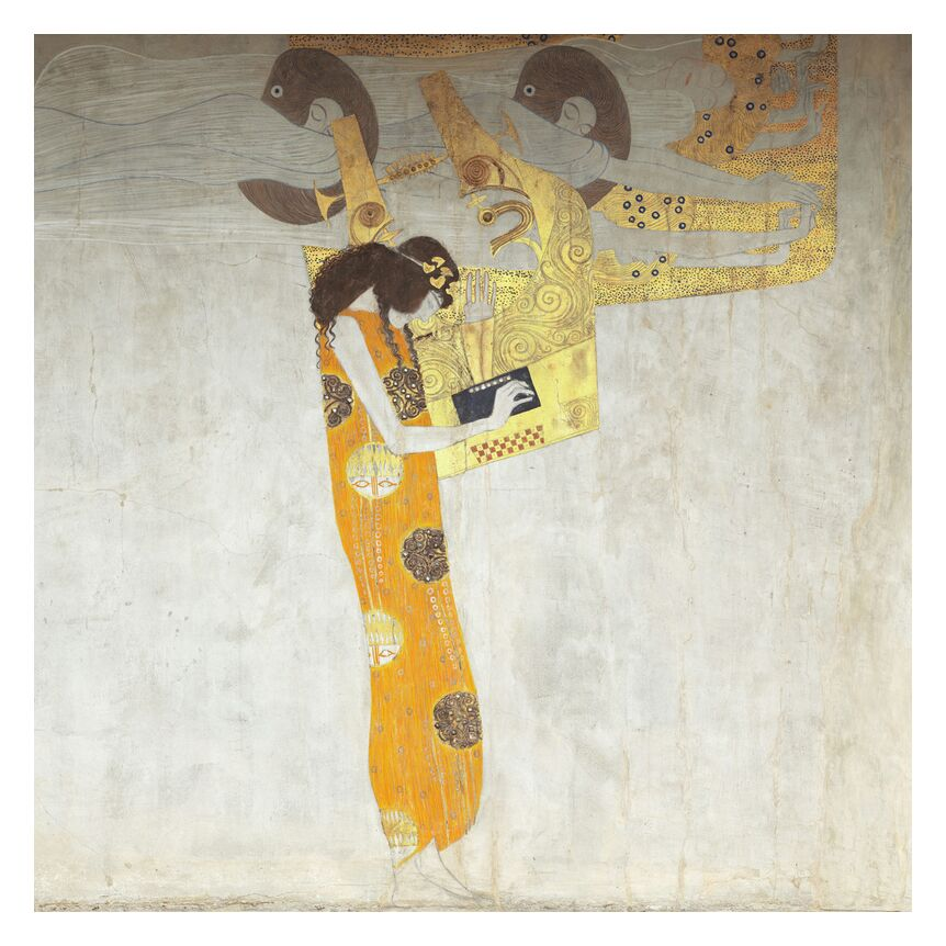 Beethovenfrieze, Allegory of Poetry - Gustav Klimt from AUX BEAUX-ARTS, Prodi Art, poetry, abstract, woman, painting, music, KLIMT
