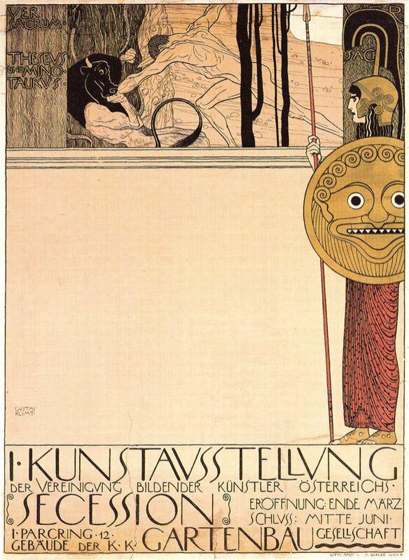 Affiche de la première exposition d'art du mouvement artistique de la Sécession, 1898 - Gustav Klimt de AUX BEAUX-ARTS Decor Image