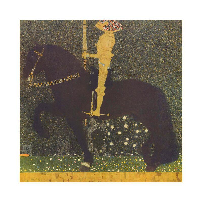 Life Is a Struggle (The Golden Knight) 1903 - Gustav Klimt desde AUX BEAUX-ARTS, Prodi Art, KLIMT, caballo, guerra, combate, oro, pintura