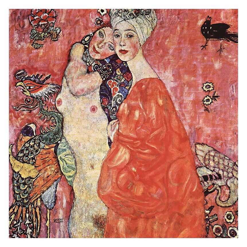 The Girlfriends - Gustav Klimt from AUX BEAUX-ARTS, Prodi Art, KLIMT, women, bird, pink, nature, nude, girlfriends