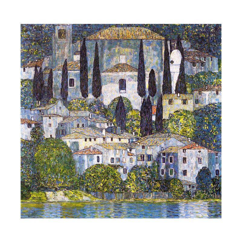 Church at Cassone sul Garda - Gustav Klimt desde AUX BEAUX-ARTS, Prodi Art, KLIMT, iglesia, lago, pintura, naturaleza, pueblo