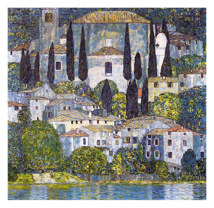 Église de Cassone sul Garda - Gustav Klimt de AUX BEAUX-ARTS, Prodi Art, KLIMT, église, Lac, peinture, nature, village