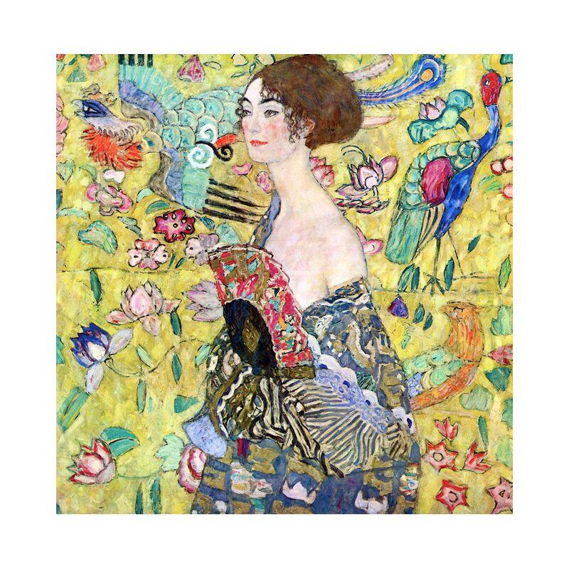 Lady with a Fan - Gustav Klimt desde AUX BEAUX-ARTS, Prodi Art, KLIMT, dama, mujer, alcance, pintura, pájaros, amarillo