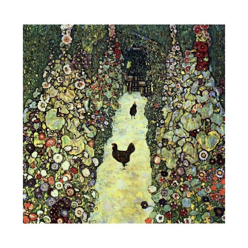 Garden Path with Chickens - Gustav Klimt desde AUX BEAUX-ARTS, Prodi Art, KLIMT, naturaleza, granja, campesino, agricultura, pintura, gallina, campo, pollo