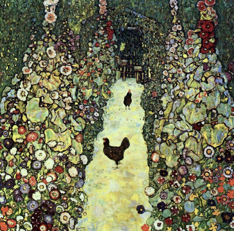 Garden Path with Chickens - Gustav Klimt from AUX BEAUX-ARTS Decor Image