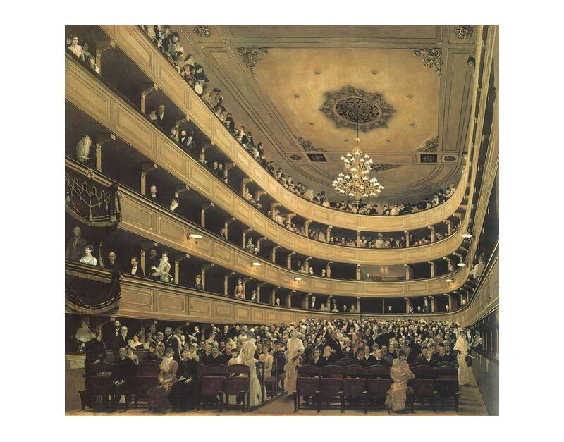 The Auditorium of the Old Castle Theatre, 1888 - Gustav Klimt desde AUX BEAUX-ARTS, Prodi Art, KLIMT, castillo, pintura, ópera, teatro, realista