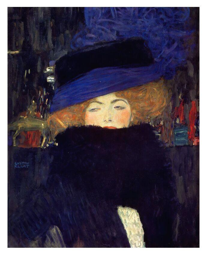Dame au Chapeau et au Boa à Plumes - Gustav Klimt de AUX BEAUX-ARTS, Prodi Art, KLIMT, femme, manteau, plumes, rousse, ville, nuit