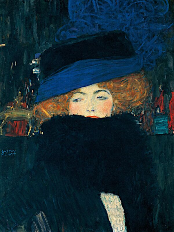 Lady with a Hat and a Feather Boa - Gustav Klimt from AUX BEAUX-ARTS Decor Image