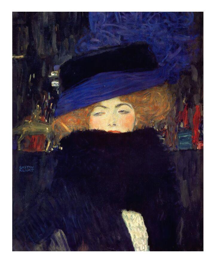 Dame au Chapeau et au Boa à Plumes - Gustav Klimt de AUX BEAUX-ARTS, Prodi Art, nuit, ville, rousse, plumes, manteau, femme, KLIMT