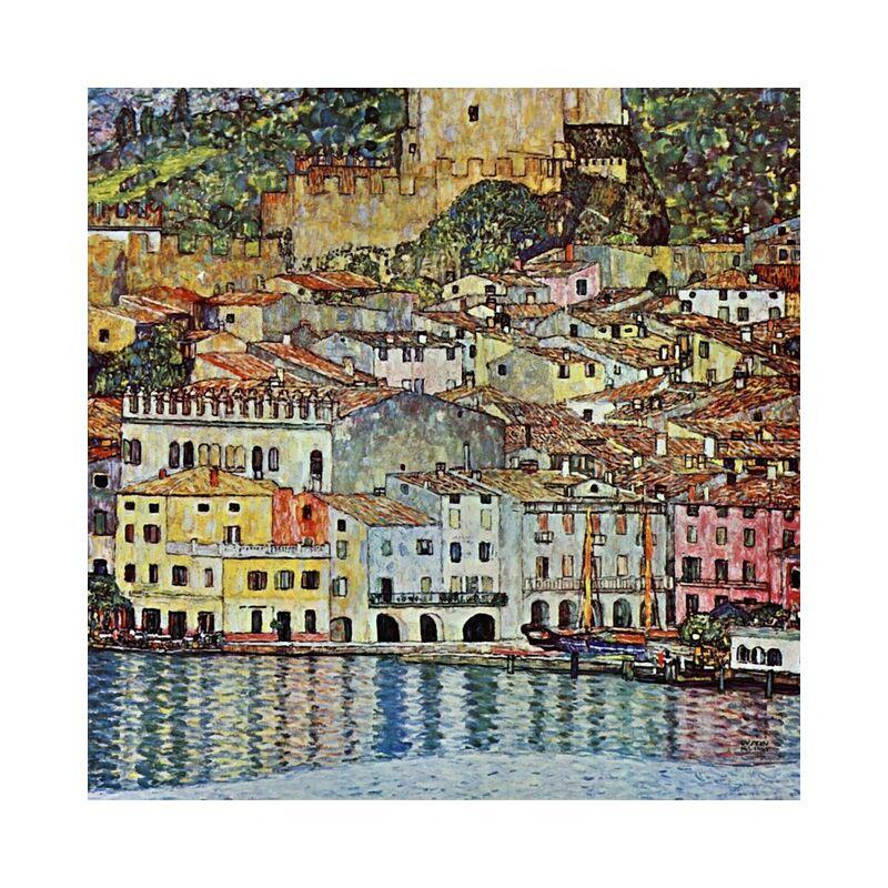 Malcena at the Gardasee, 1907 - Gustav Klimt desde AUX BEAUX-ARTS, Prodi Art, KLIMT, ciudad, pueblo, pintura, lago, Puerto, barco
